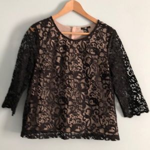 H&M Black Lace 3/4 Length Sleeve Top